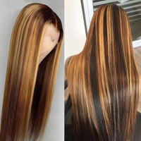 4/27 Mixed Color Straight Lace Wig 150% Density