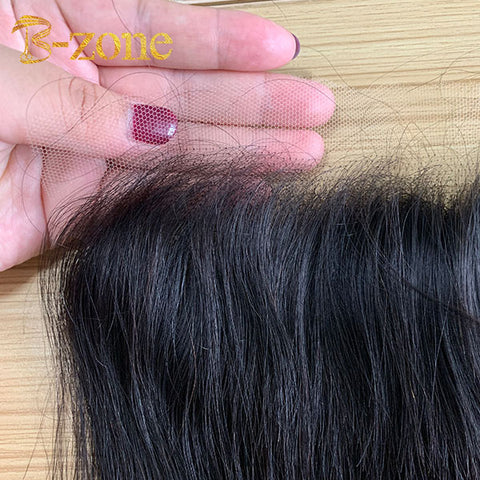 Indian Straight Hair 3 Bundles with HD lace frontal 13x4inch Straight