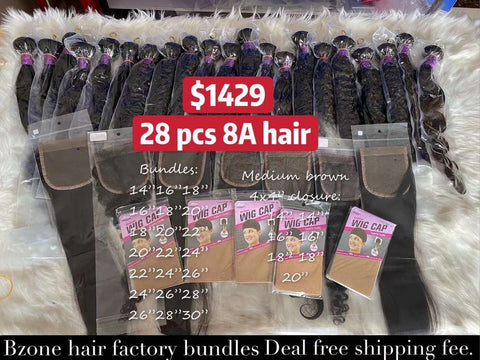 $1429 Deal 28 pcs 8A Bundels and 7 pcs 4x4 closures