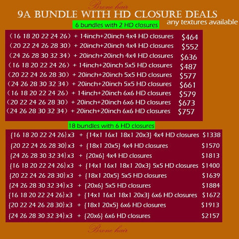 9A bundle with HD closure Deals