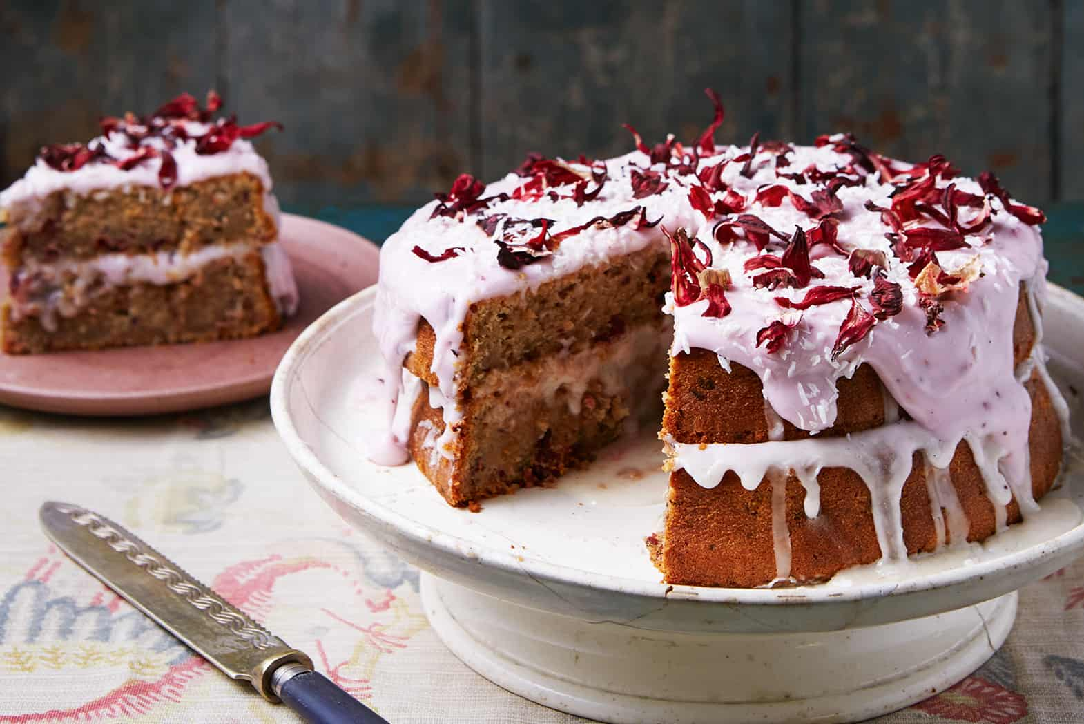 Hibiscus and Coconut Layer Cake Recipe With Pink Icing