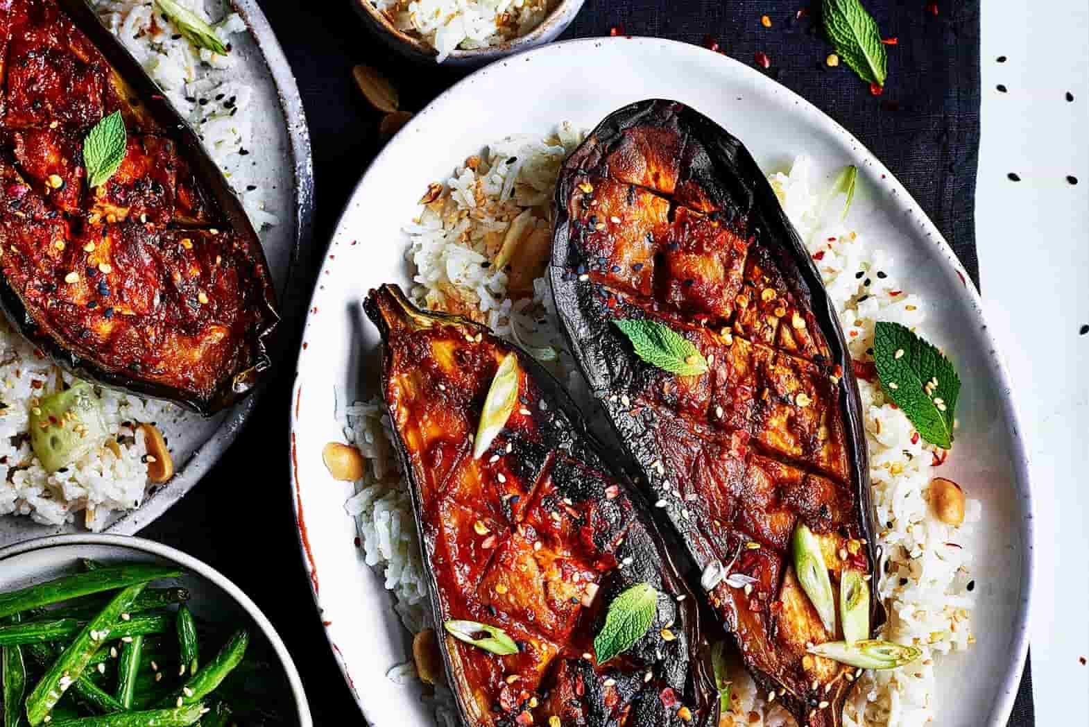 Recipe for Miso & Maple Glazed Aubergine