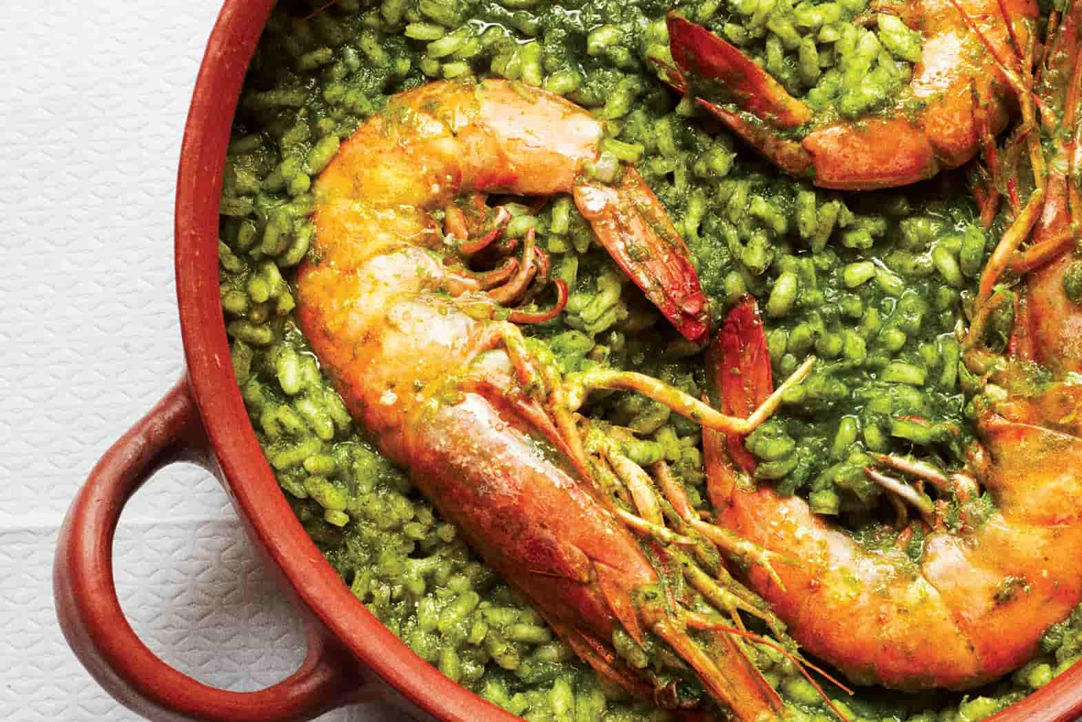 Gabriela Cámara's Arroz Verde Con Camarones (Prawns With Green Rice)