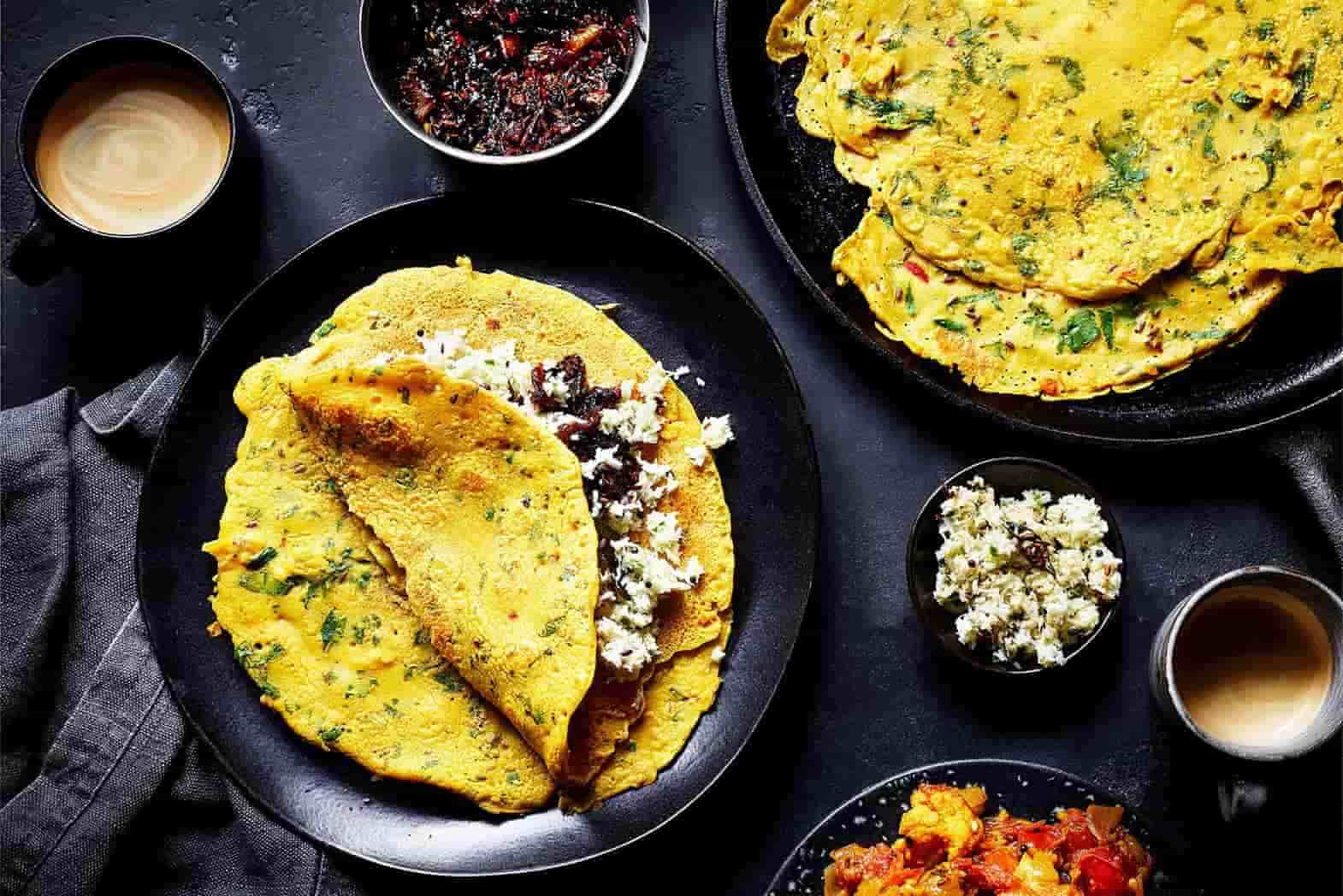 recipe for spiced crepe with coconut chutney