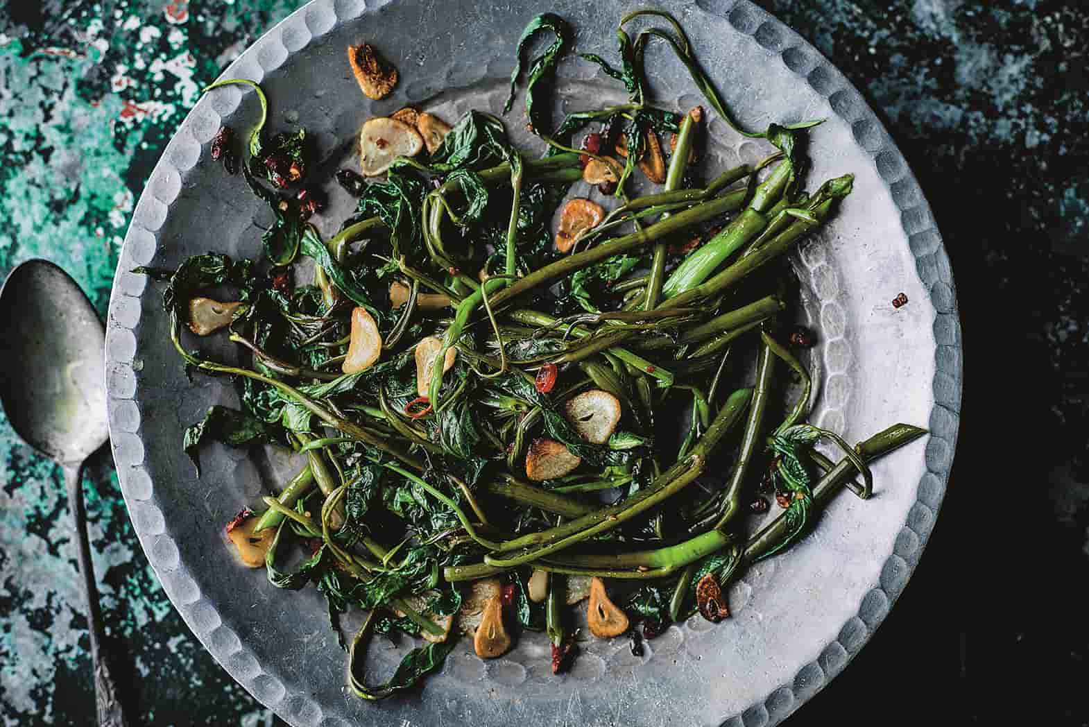 Stir-Fried Morning Glory In a Grey Bowl