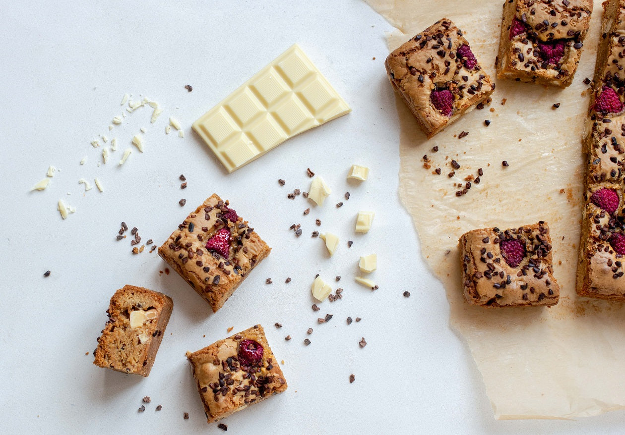 Raspberry Blondies With Cocoa Nibs Recipe
