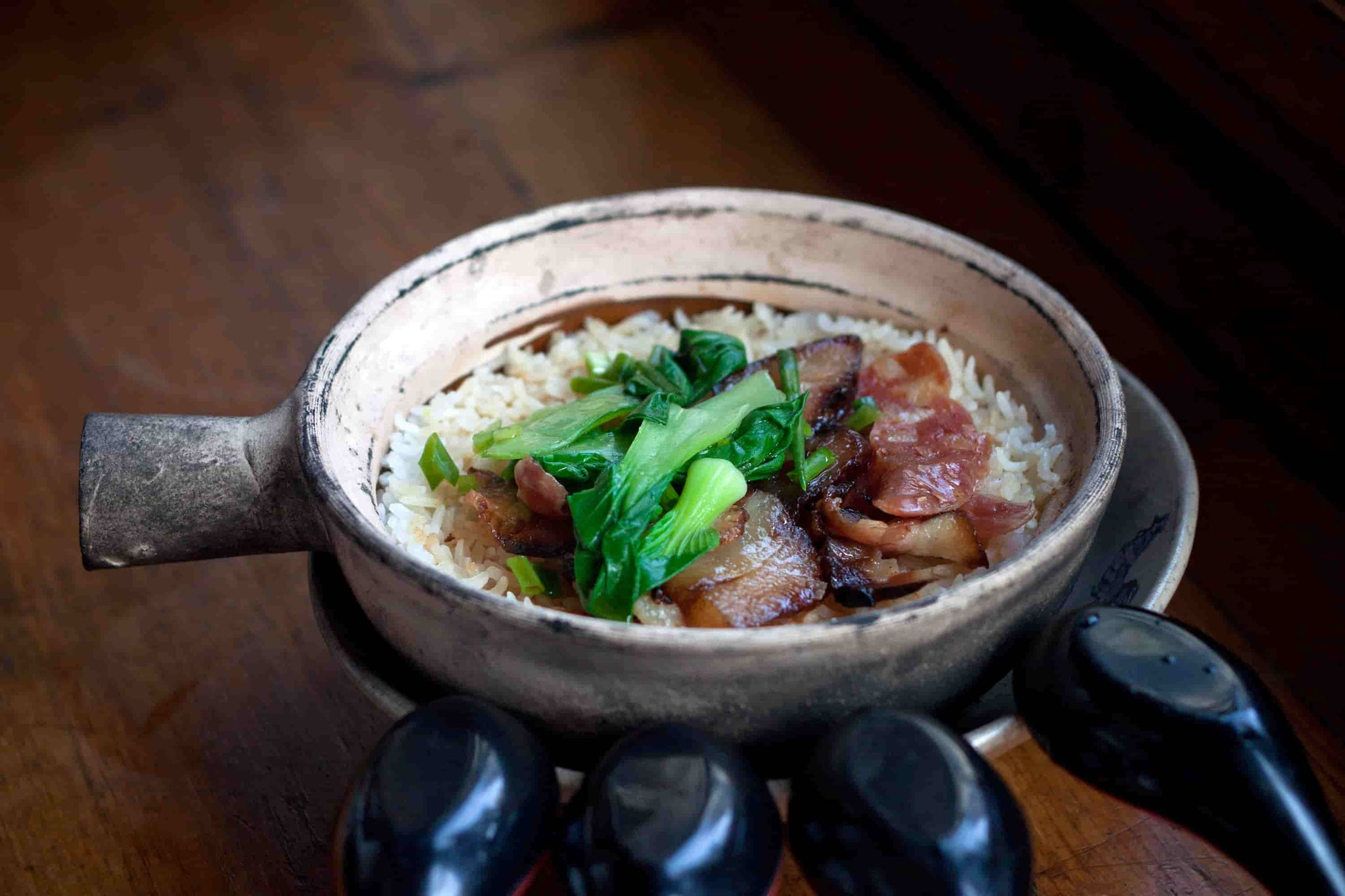 chinese claypot rice sausage meal