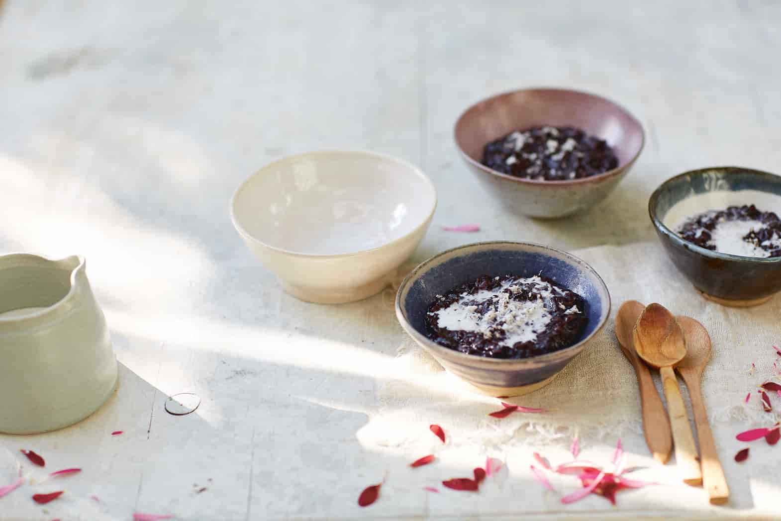 Black rice pudding with salted coconut cream