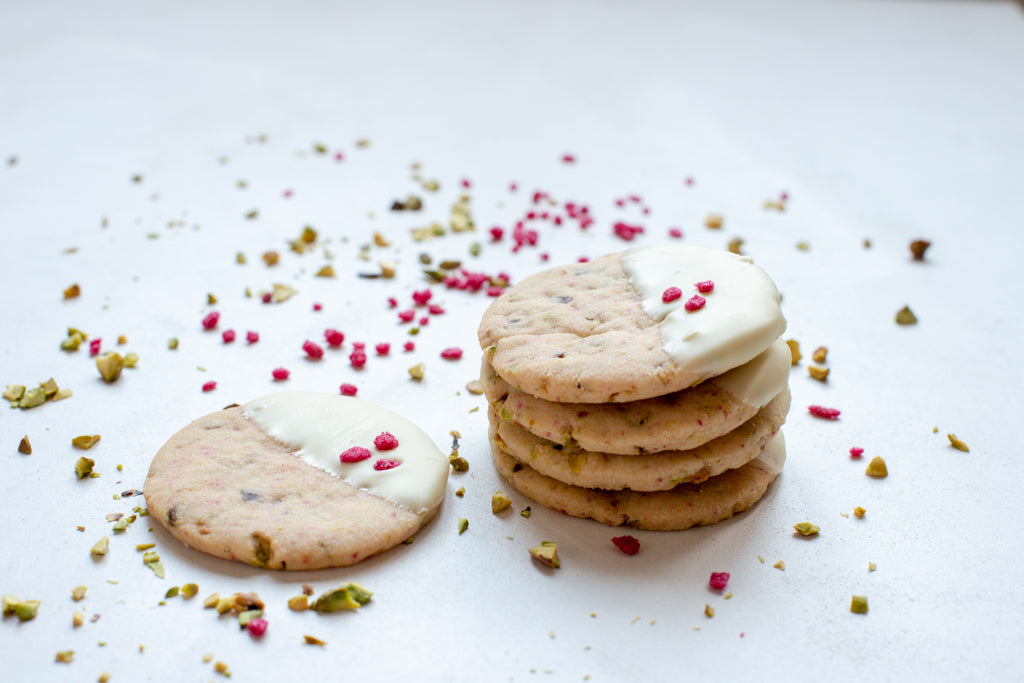 Recipe: Rose, Pistachio and White Chocolate Shortbread Biscuits