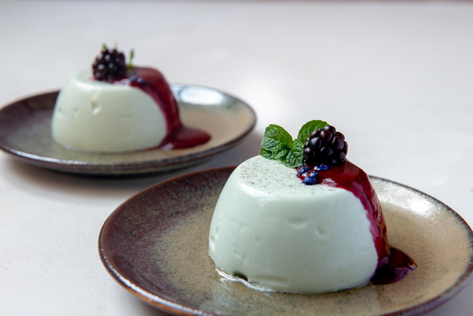 Violet Panna Cotta With Blackberry Coulis Recipe