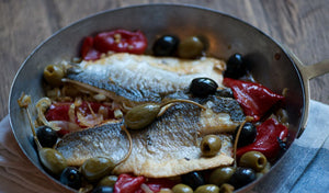 Recipe: Pan-fried sea bass with piquillo peppers