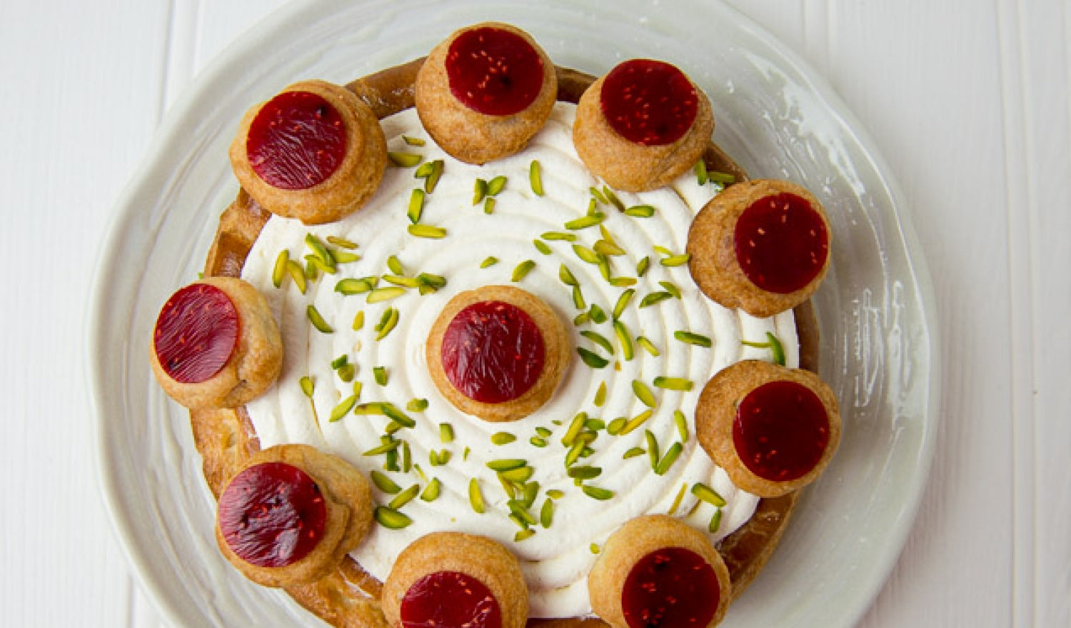 Raspberry And Pistachio Saint Honores Recipe