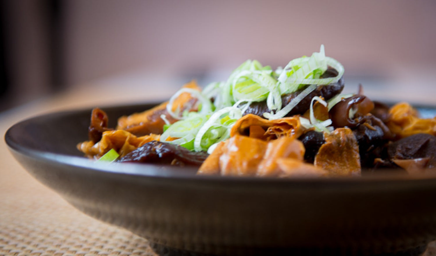 Braised Bean Curd Skin With Mushrooms Recipe
