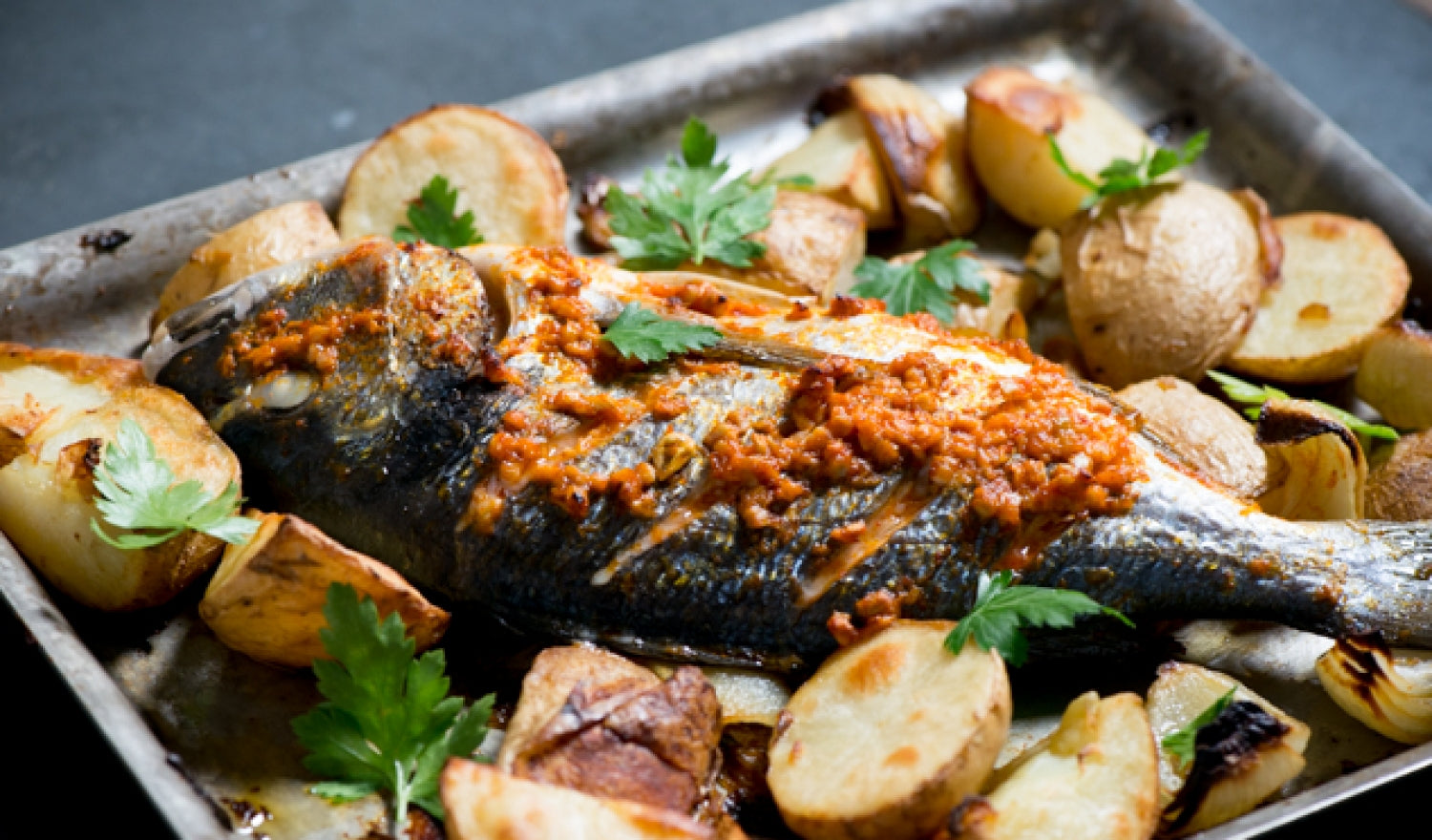 Harissa Roast Sea Bream With Preserved Lemon Potatoes Recipe