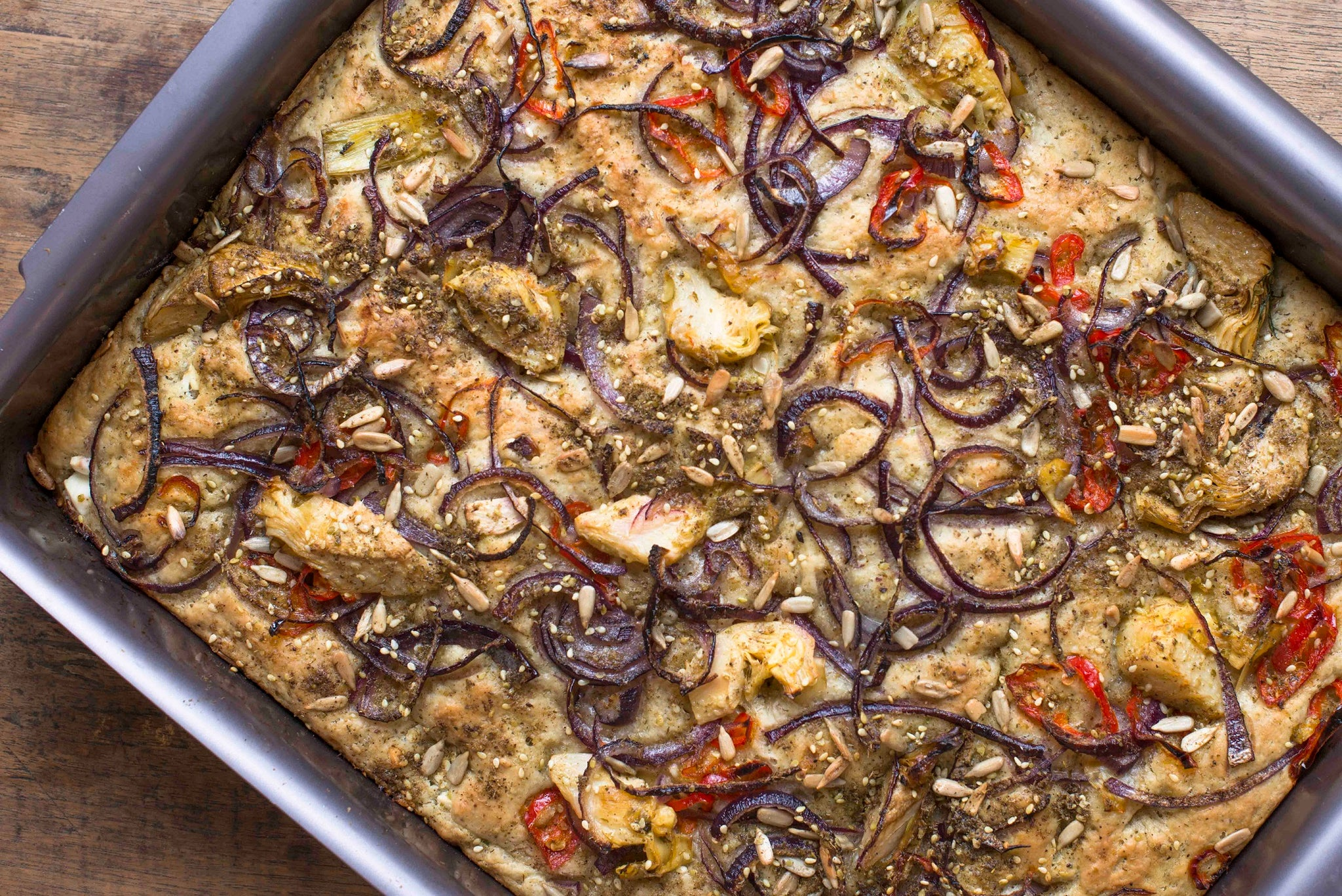 Za'Atar Focaccia With Artichokes, Feta & Chilli Recipe