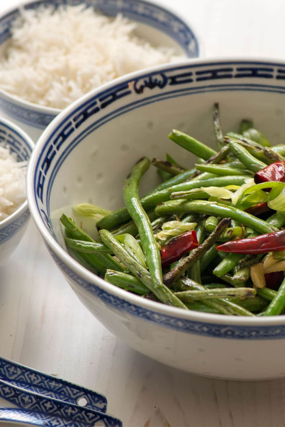 Dry Fried Green Beans With Bullet Chilli