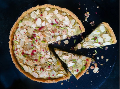 Easter tart recipe for pistachio and sour cherry pastry