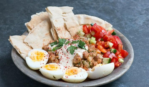 Egyptian breakfast with ful medames