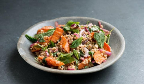 Maftoul salad with carrot & feta cheese