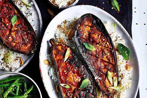 Miso & Maple-Glazed Aubergines by Niki Webster