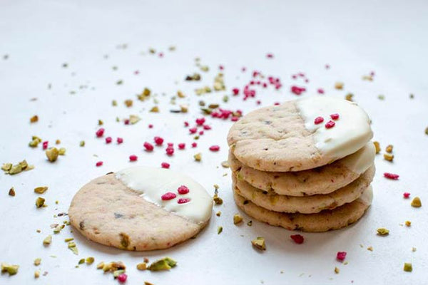 Rose, Pistachio And White Chocolate Shortbread Biscuits Recipe