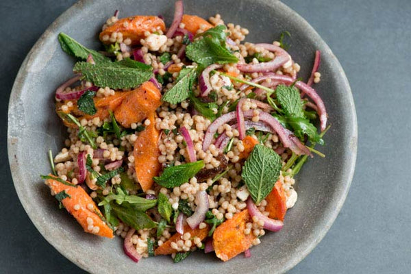 Maftoul, Carrot, Feta, Date & Mint Salad Recipe