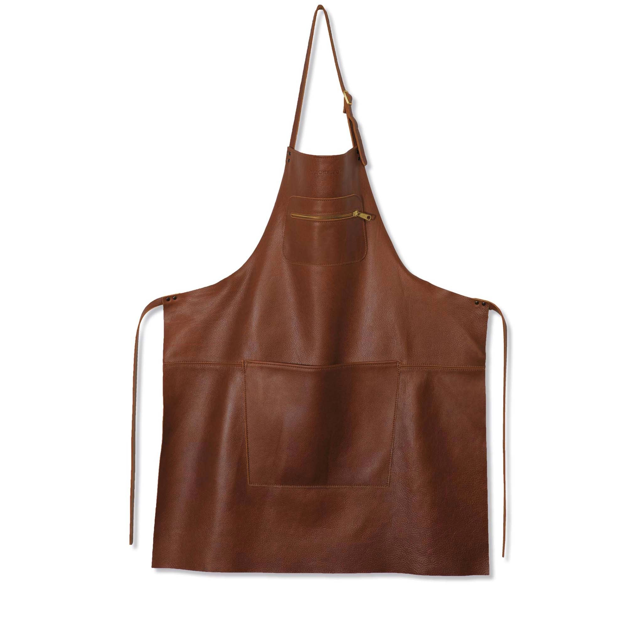 Dutchdeluxes Leather Zipper Apron in Classic Brown Cookware Kitchen Clothing