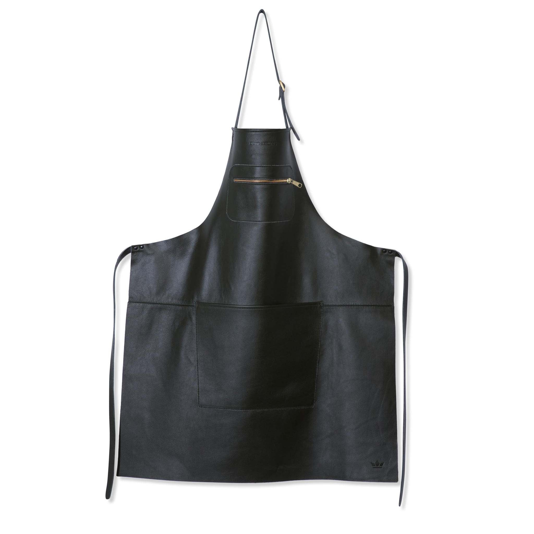 Dutchdeluxes Leather Zipper Apron in Classic Black Cookware Kitchen Clothing
