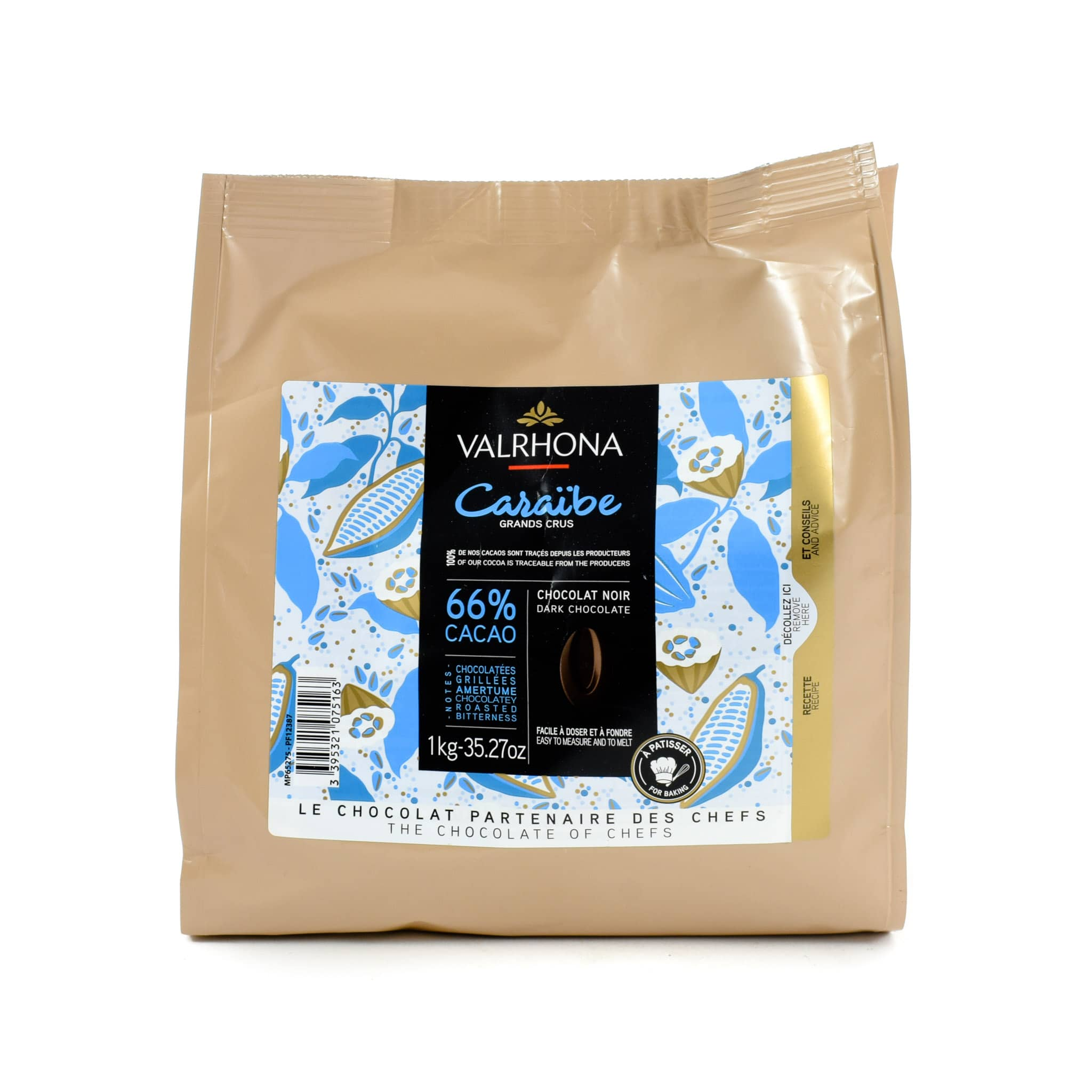 Valrhona Caraibe 66% Dark Chocolate Chips 1kg