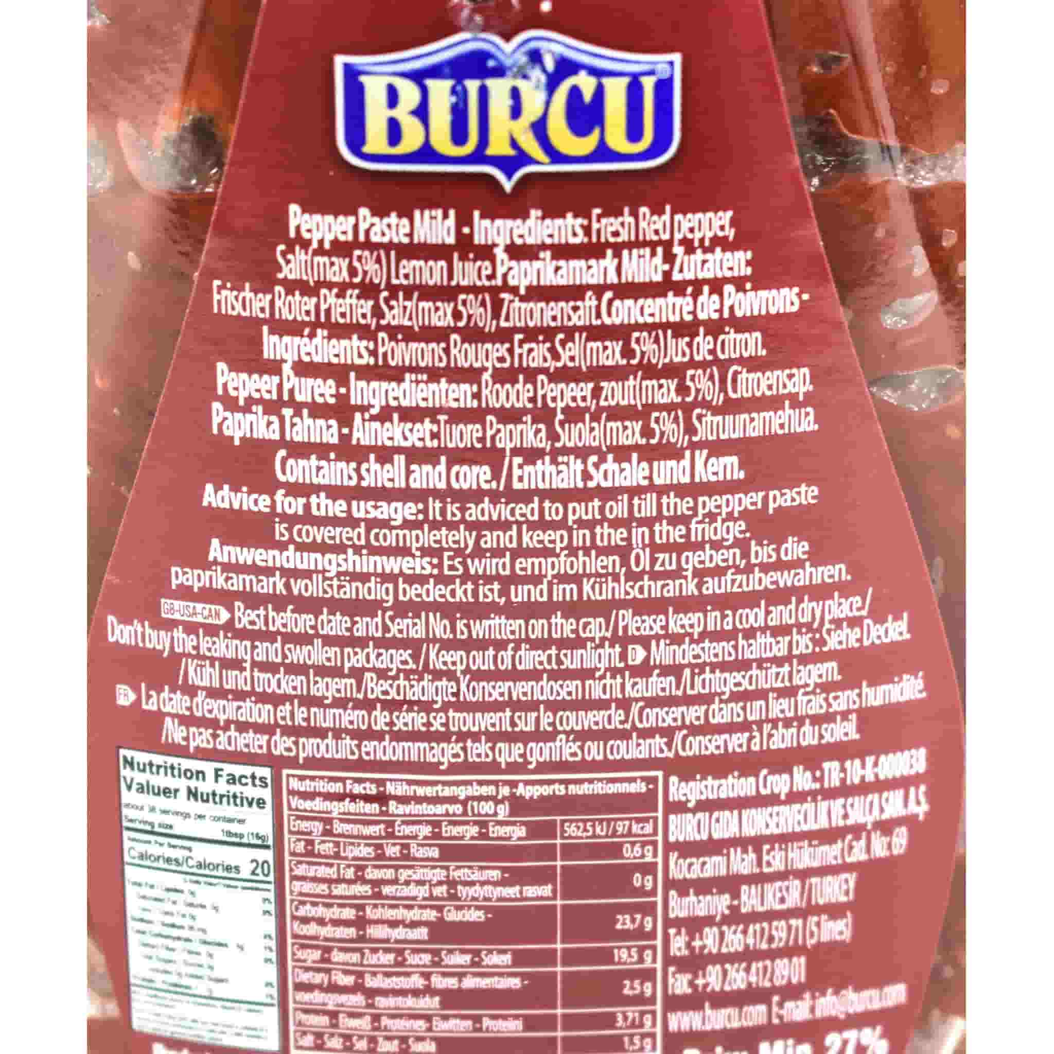Turkish Mild Pepper Paste - Biber Salcasi 600g