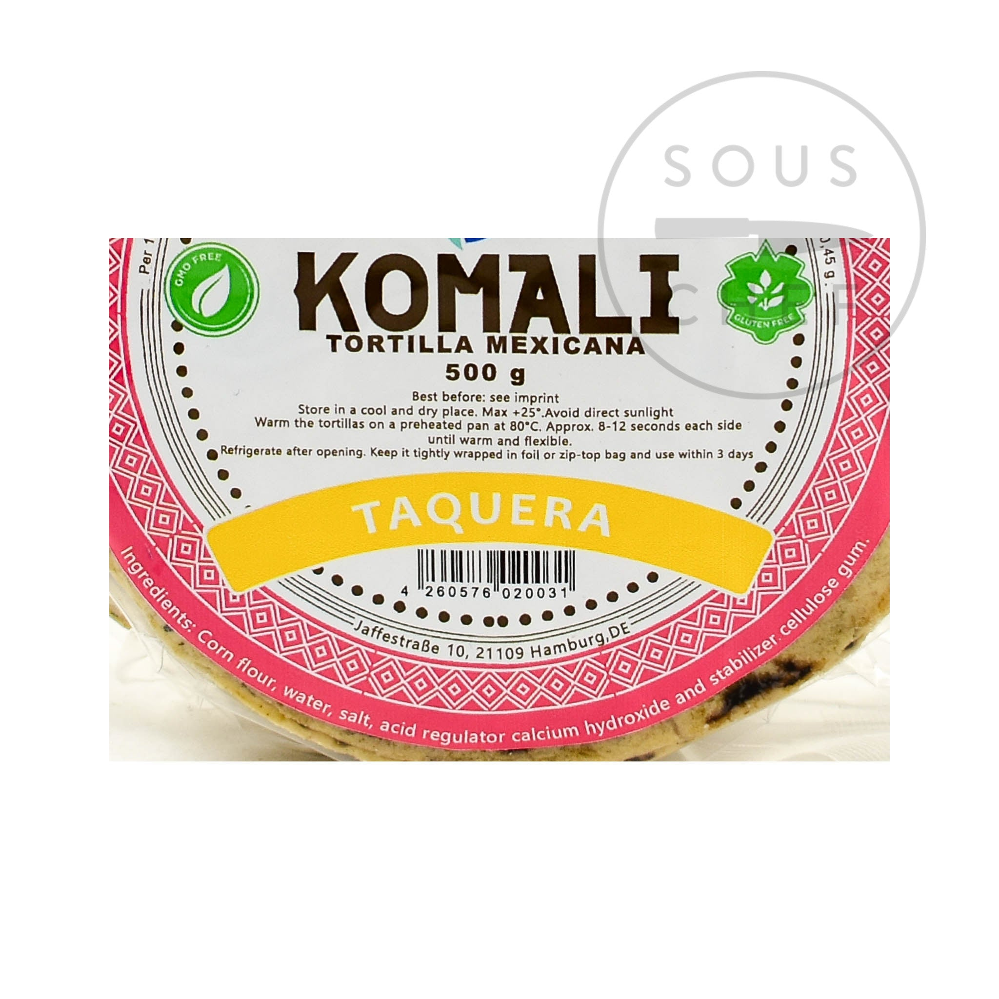 Komali Tortilla Taquera 12cm 500g Ingredients Nutritional Information Mexican Food and Cooking