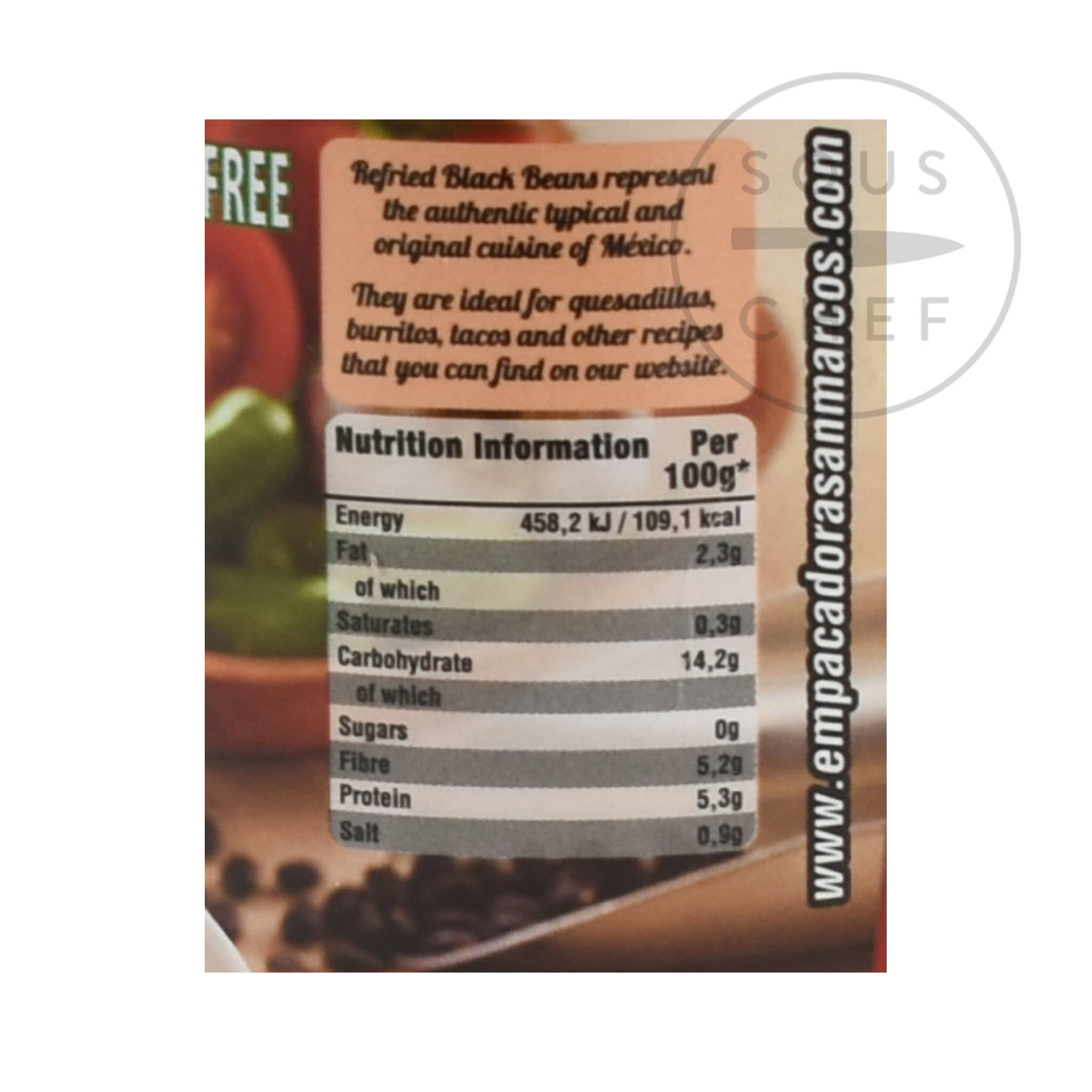 San Marcos Frijoles Refritos Negros Refried Beans 430g Ingredients Nutritional Information Mexican Food and Cooking