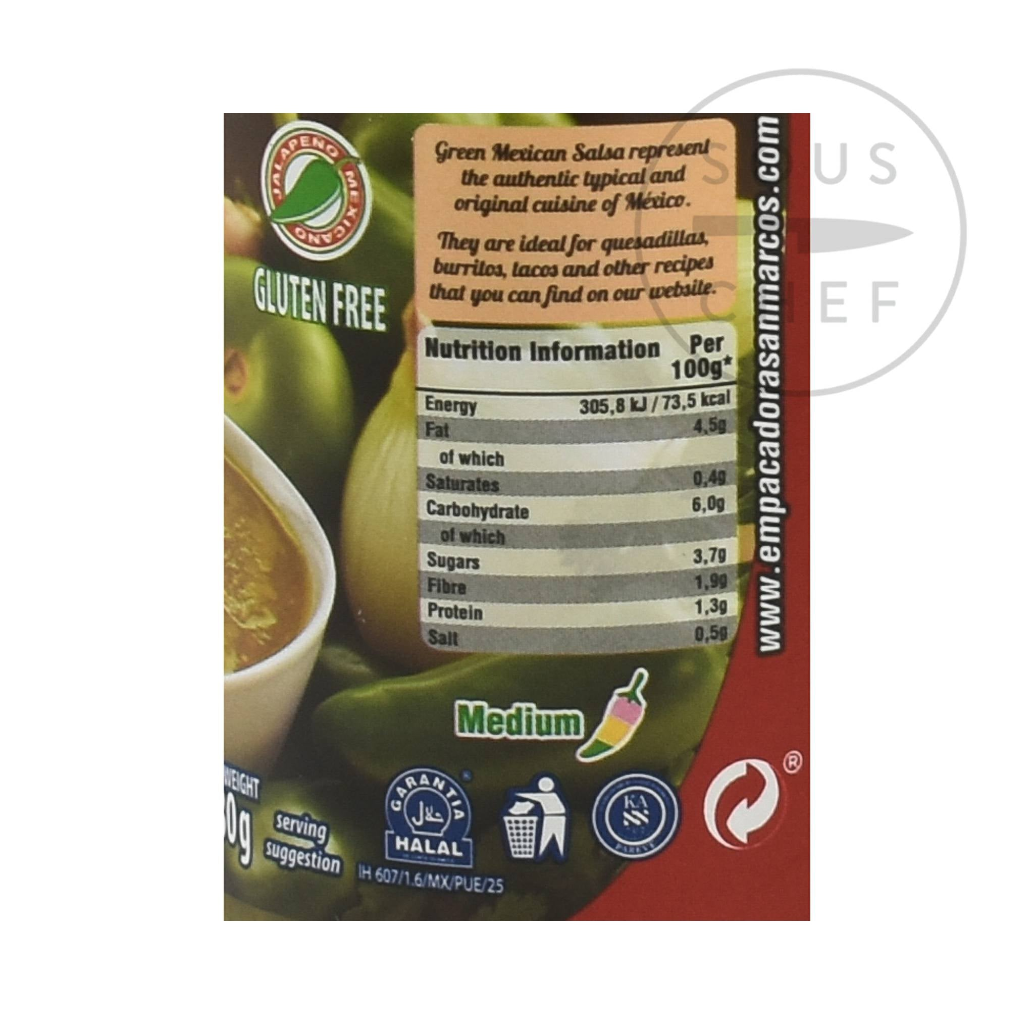 San Marcos Salsa Verde 230g Ingredients Nutritional Information Mexican Food and Cooking