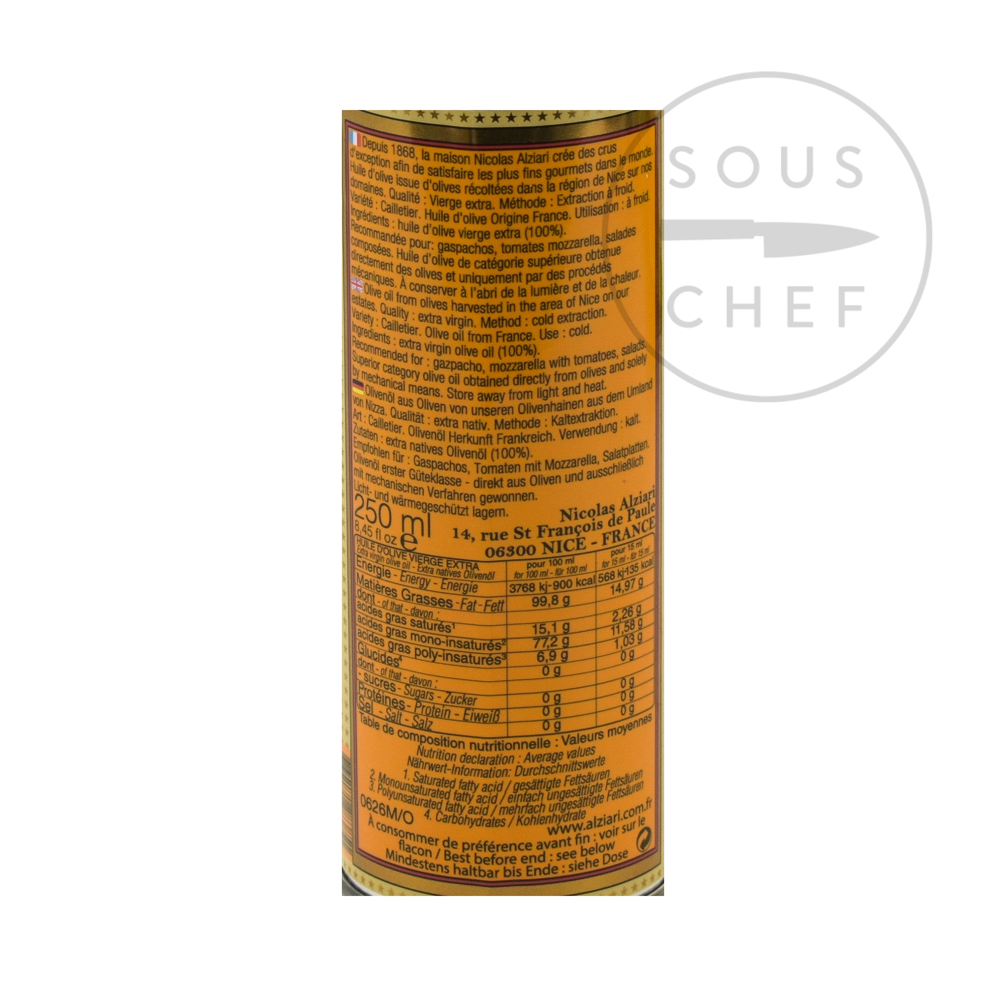 Nicolas Alziari DOP 'Cuvee Cesar' Olive Oil from Provence 250ml