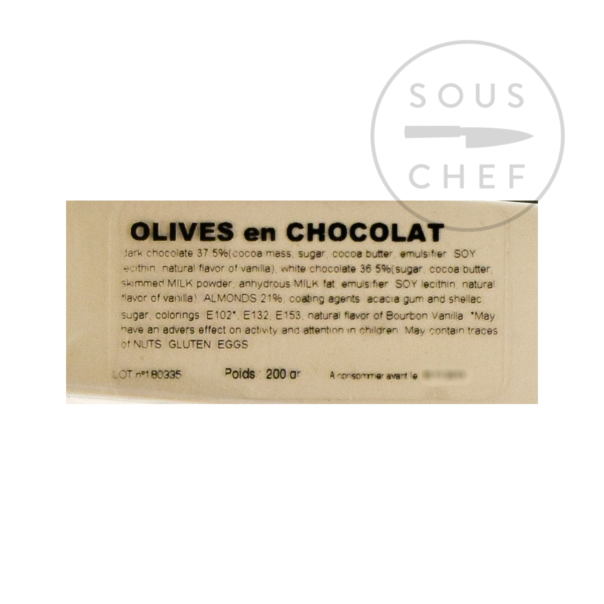 Nicolas Alziari Provence Olive-Shaped Chocolates 80g Ingredients Chocolate Bars & Confectionery French Food Ingredients Information