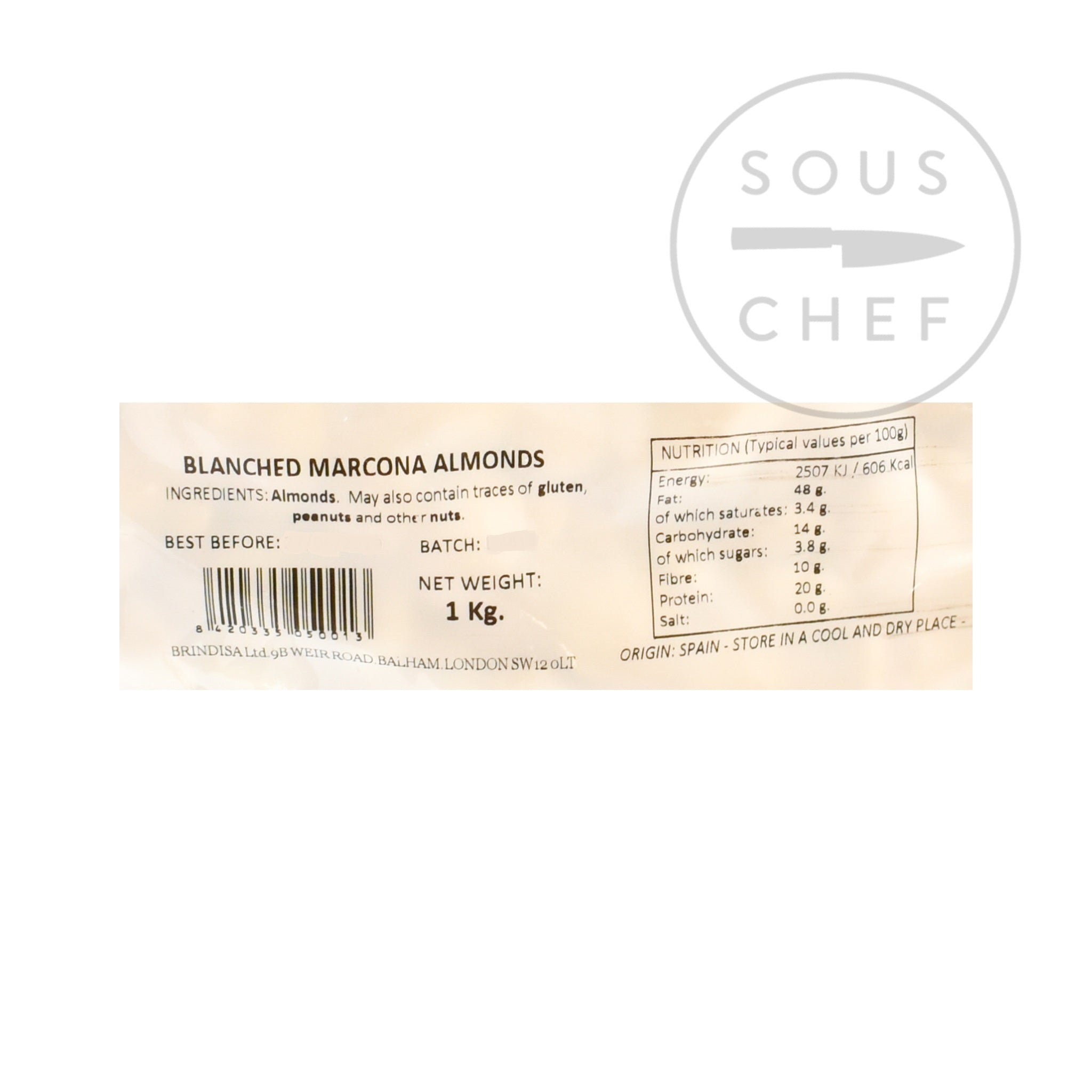 Blanched, Skinless Marcona Almonds 1kg Snacks & Confectionery Spanish Food & Ingredients Nutritional Information