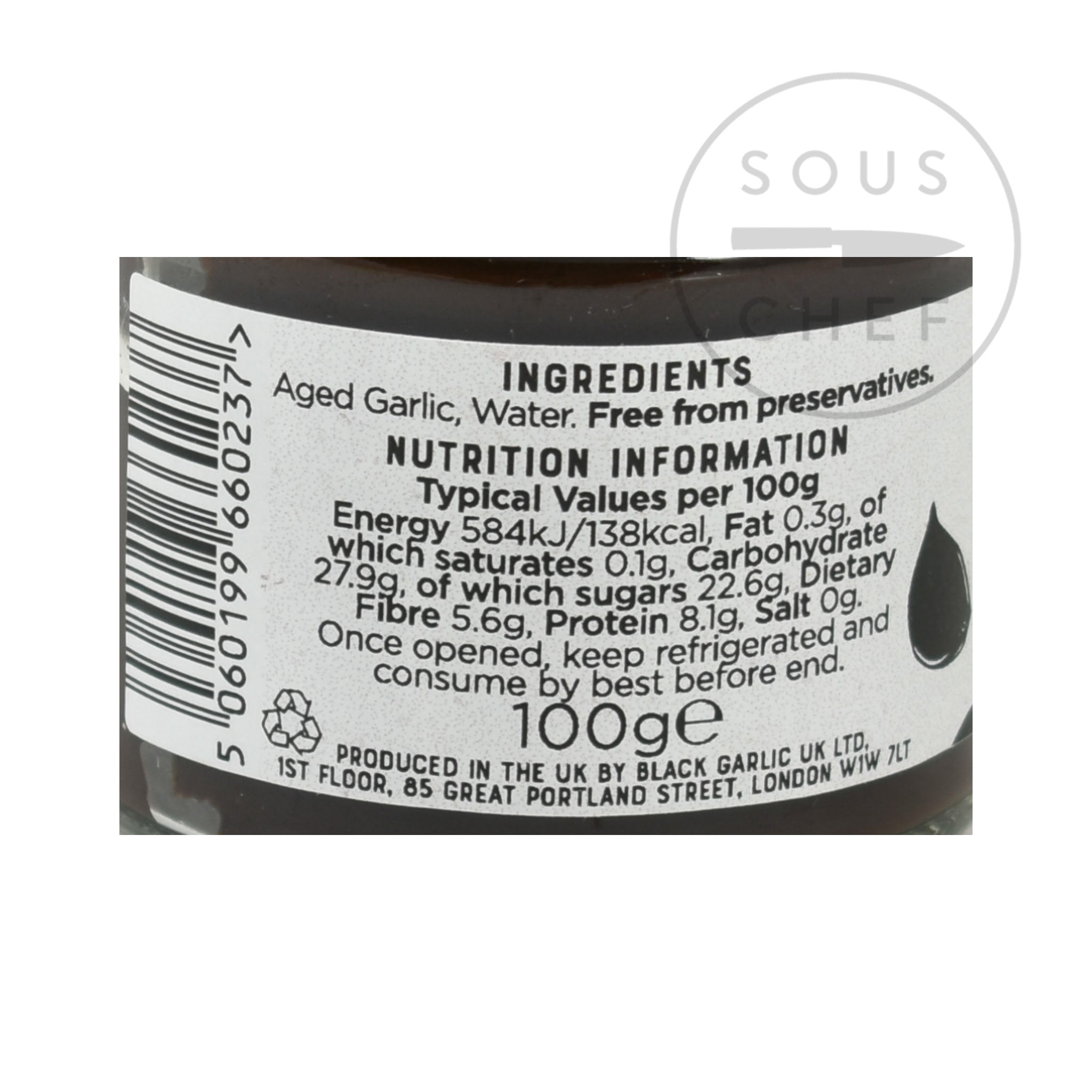 Balsajo Black Garlic Paste 100g Ingredients Pickled & Preserved Vegetables Ingredients Nutritional Information
