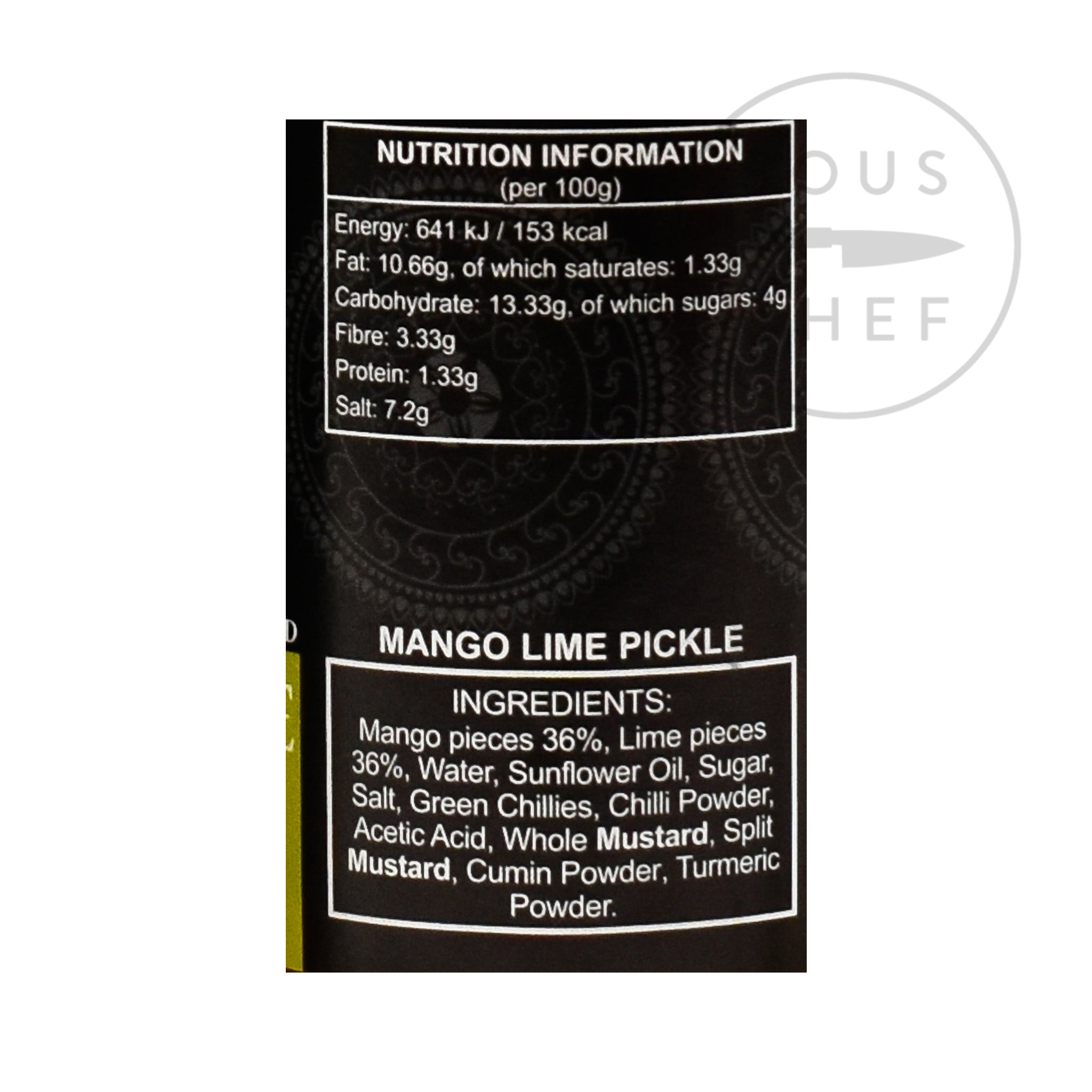 Ferns' Mango Lime Pickle 380g nutritional information ingredients