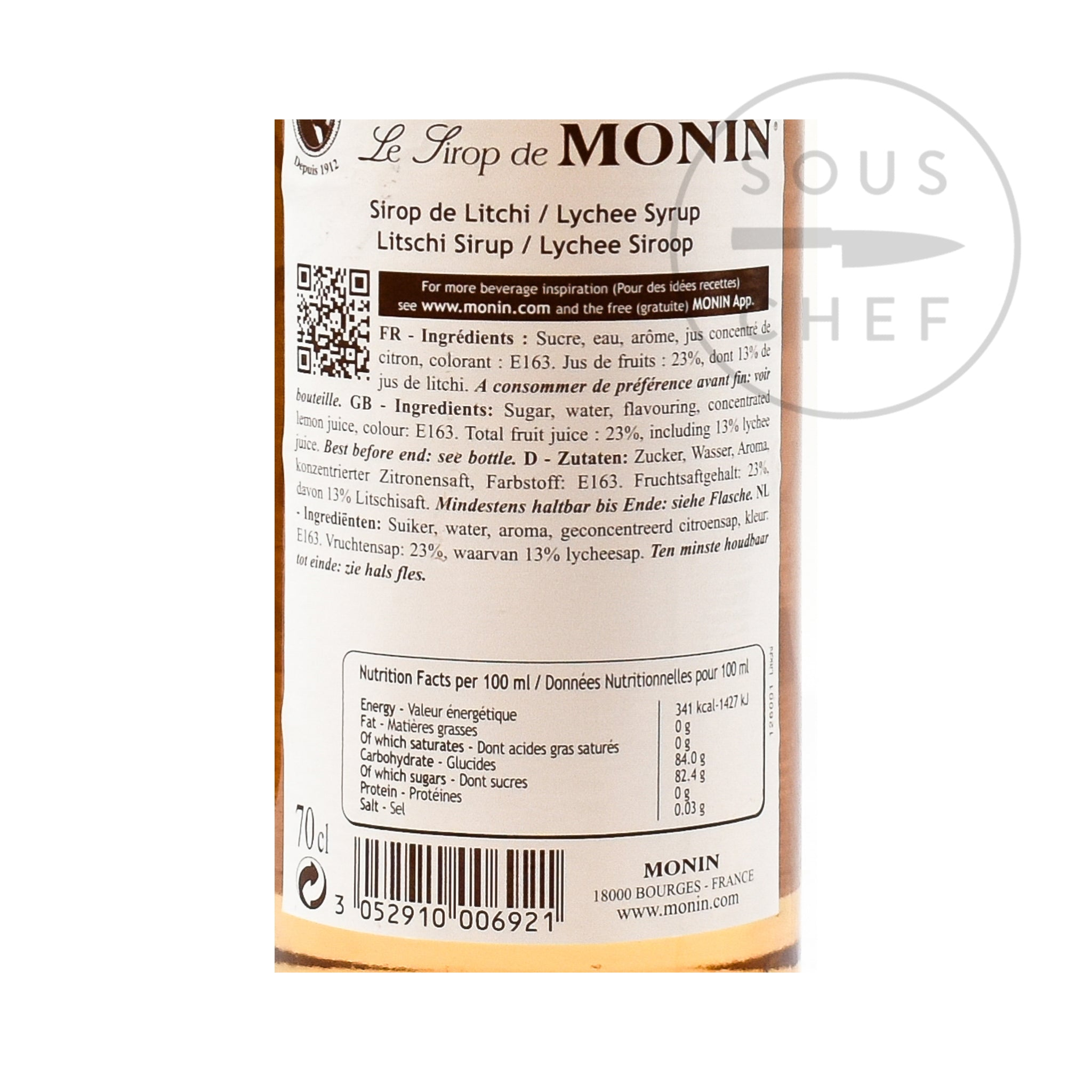 Monin Lychee Syrup 70cl nutritional information ingredients