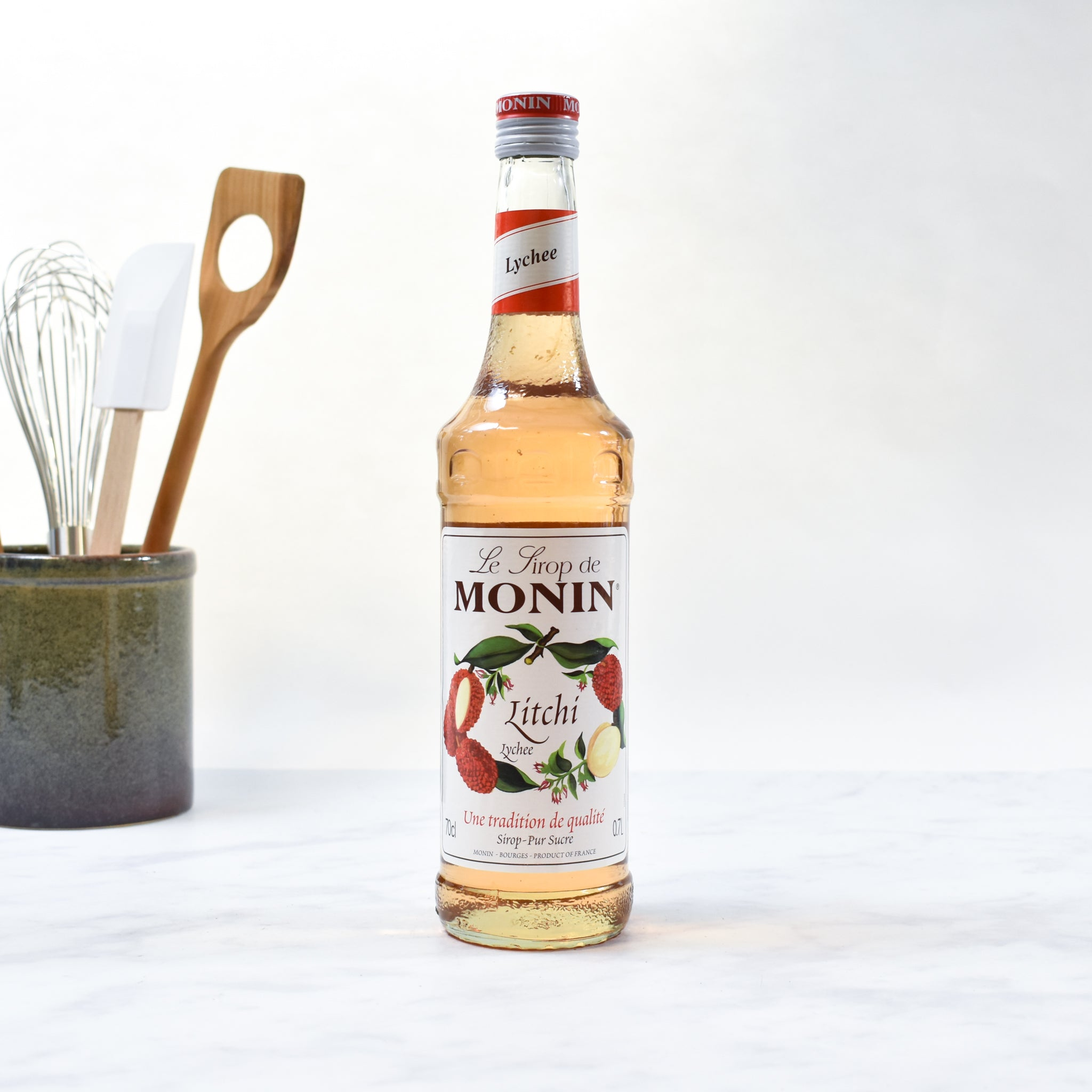 Monin Lychee Syrup 70cl lifestyle photograph