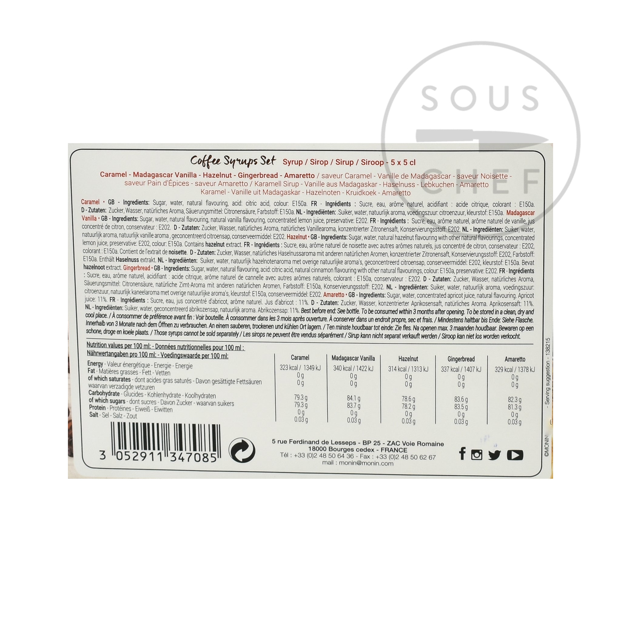 Monin Coffee Syrup Set 5 x 50ml Ingredients Drinks Syrups & Concentrates French Food Ingredients Nutritional Information