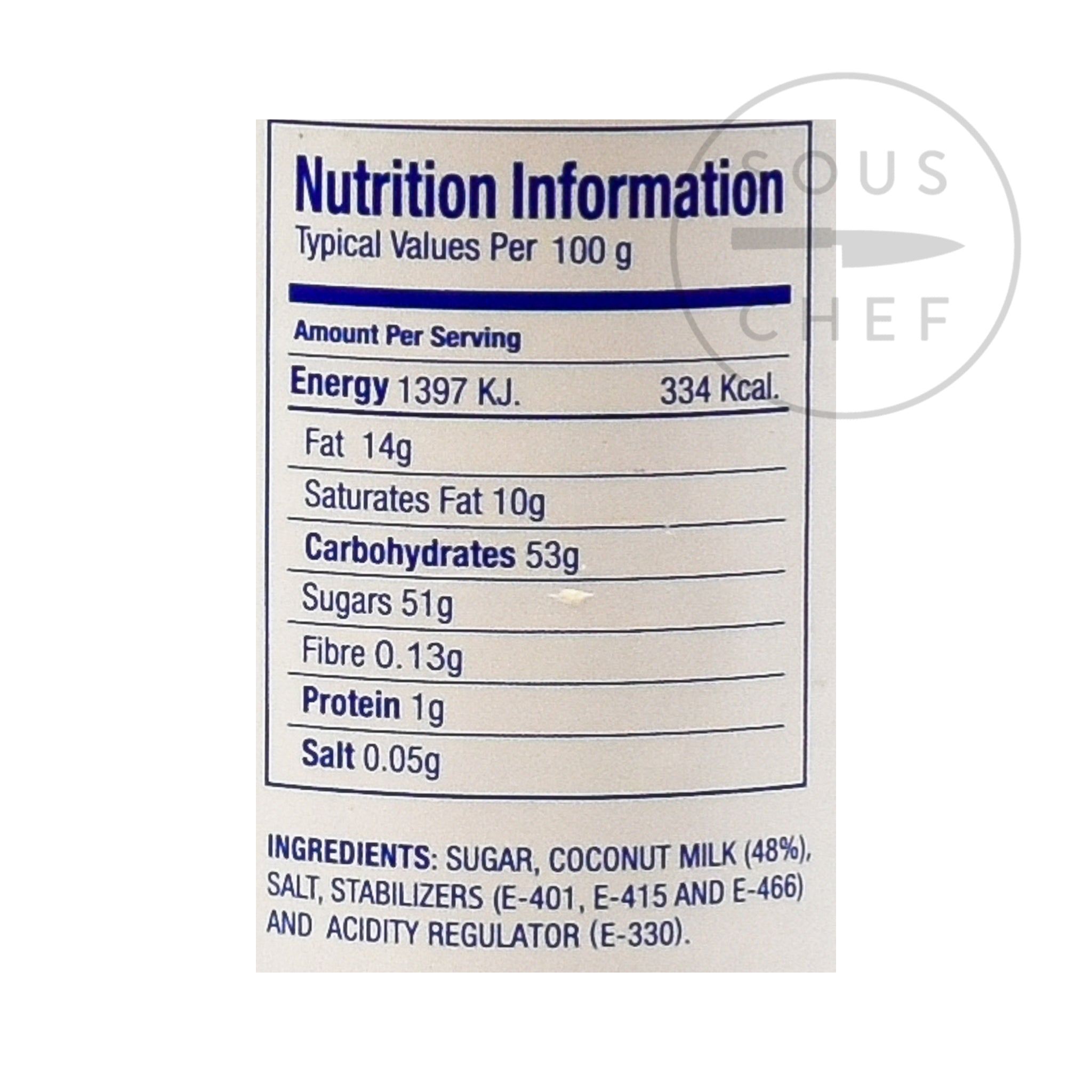 Coco Lopez - Cream of Coconut 425g nutritional information ingredients