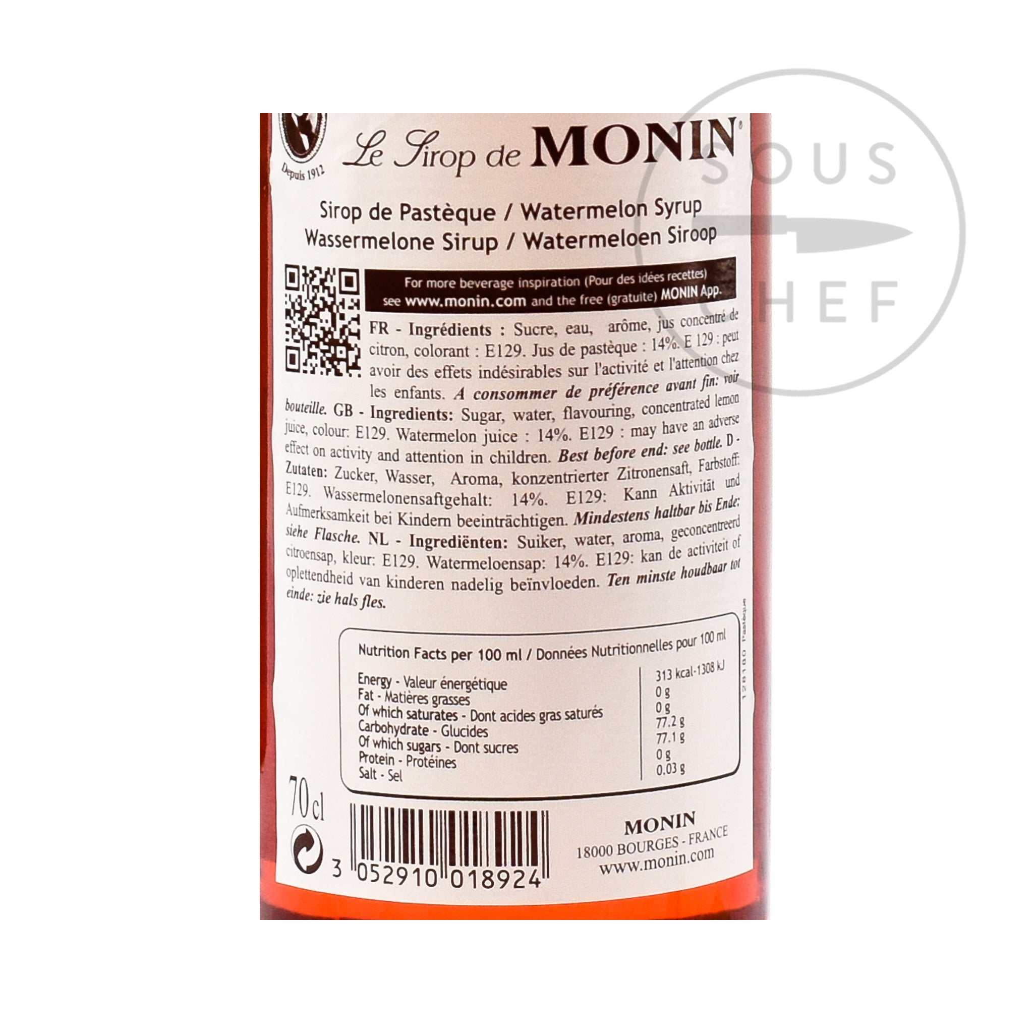 Monin Watermelon Syrup 70cl nutritional information ingredients