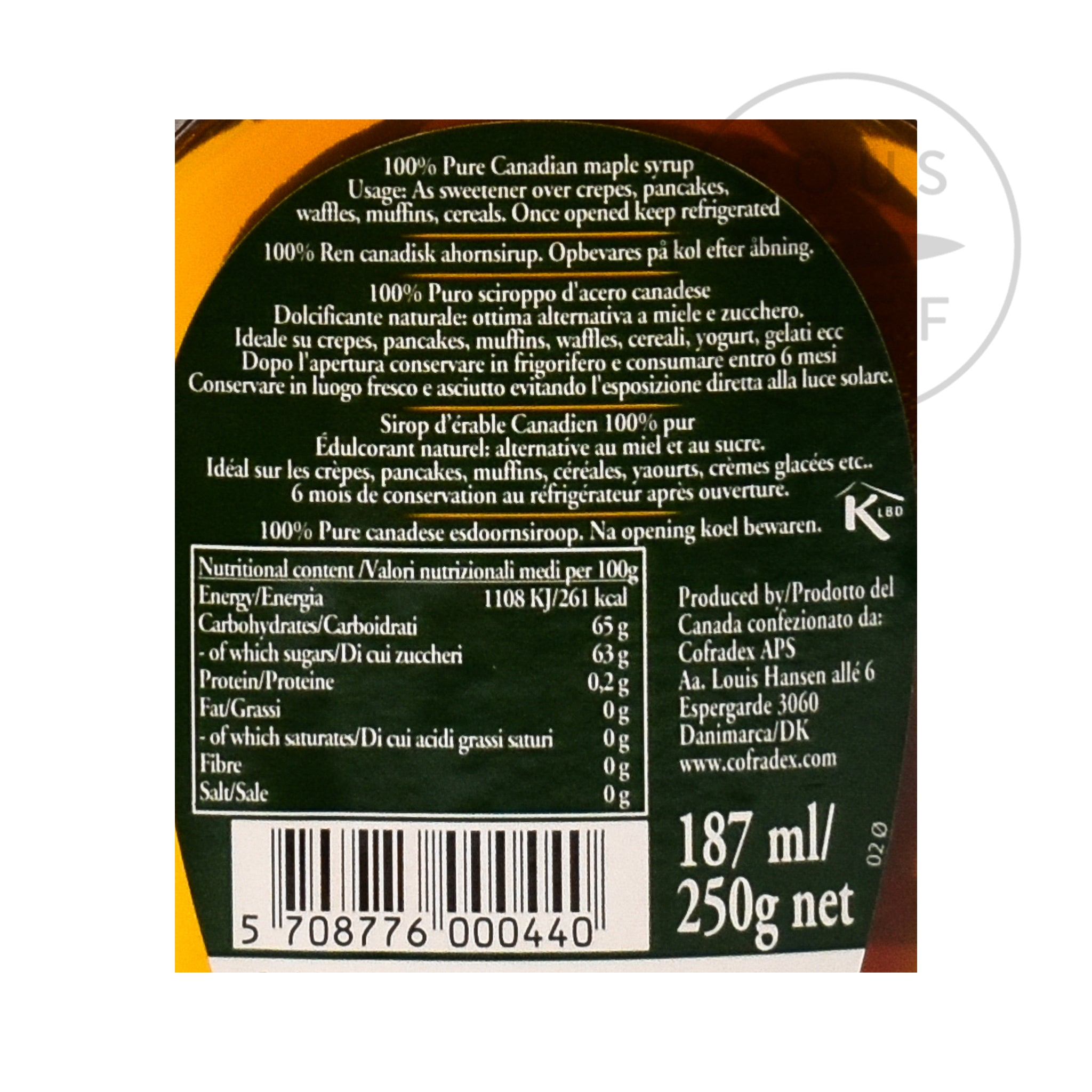 Pure Maple Syrup 187ml nutritional information ingredients