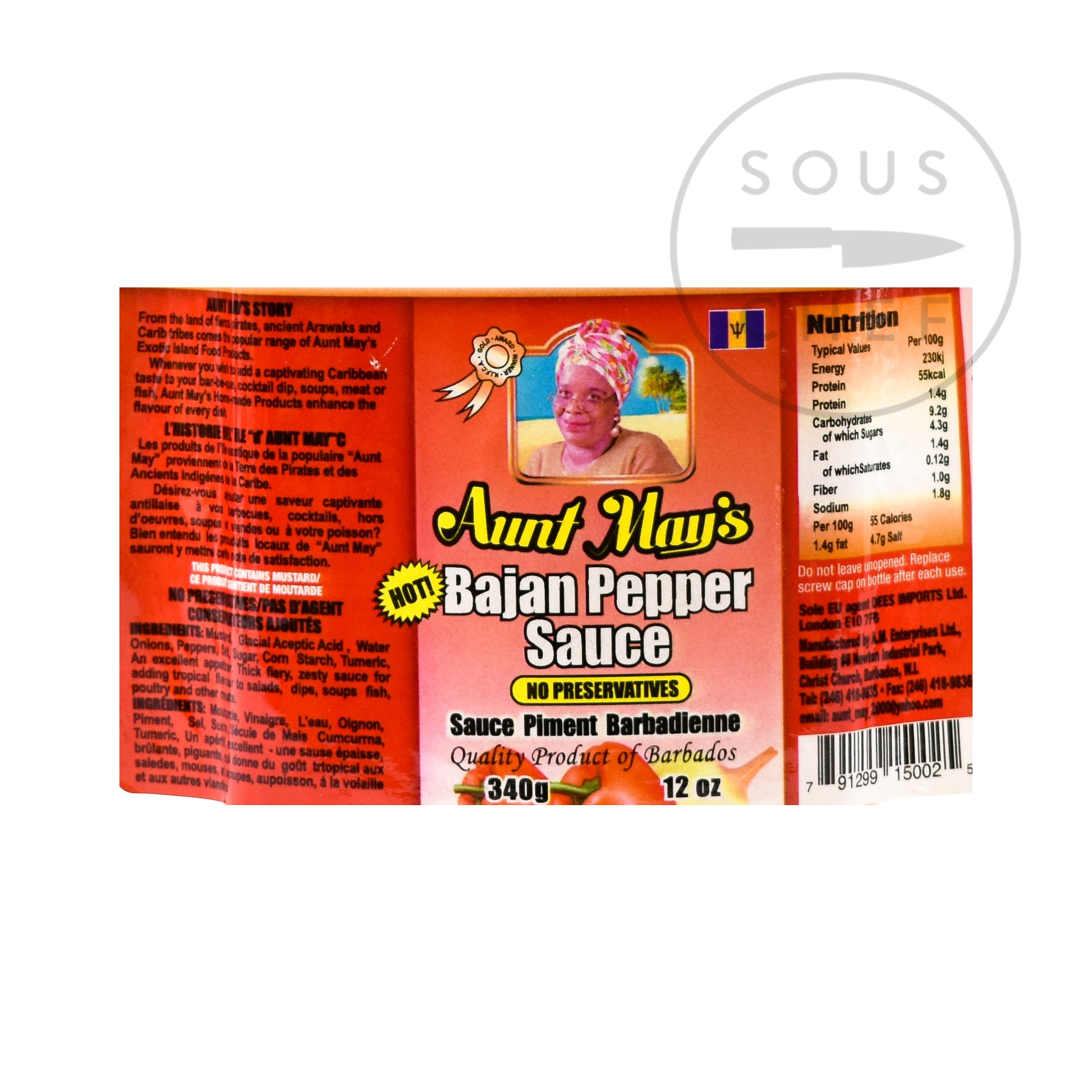 Aunt May's Bajan Pepper Sauce 340g nutritional information ingredients