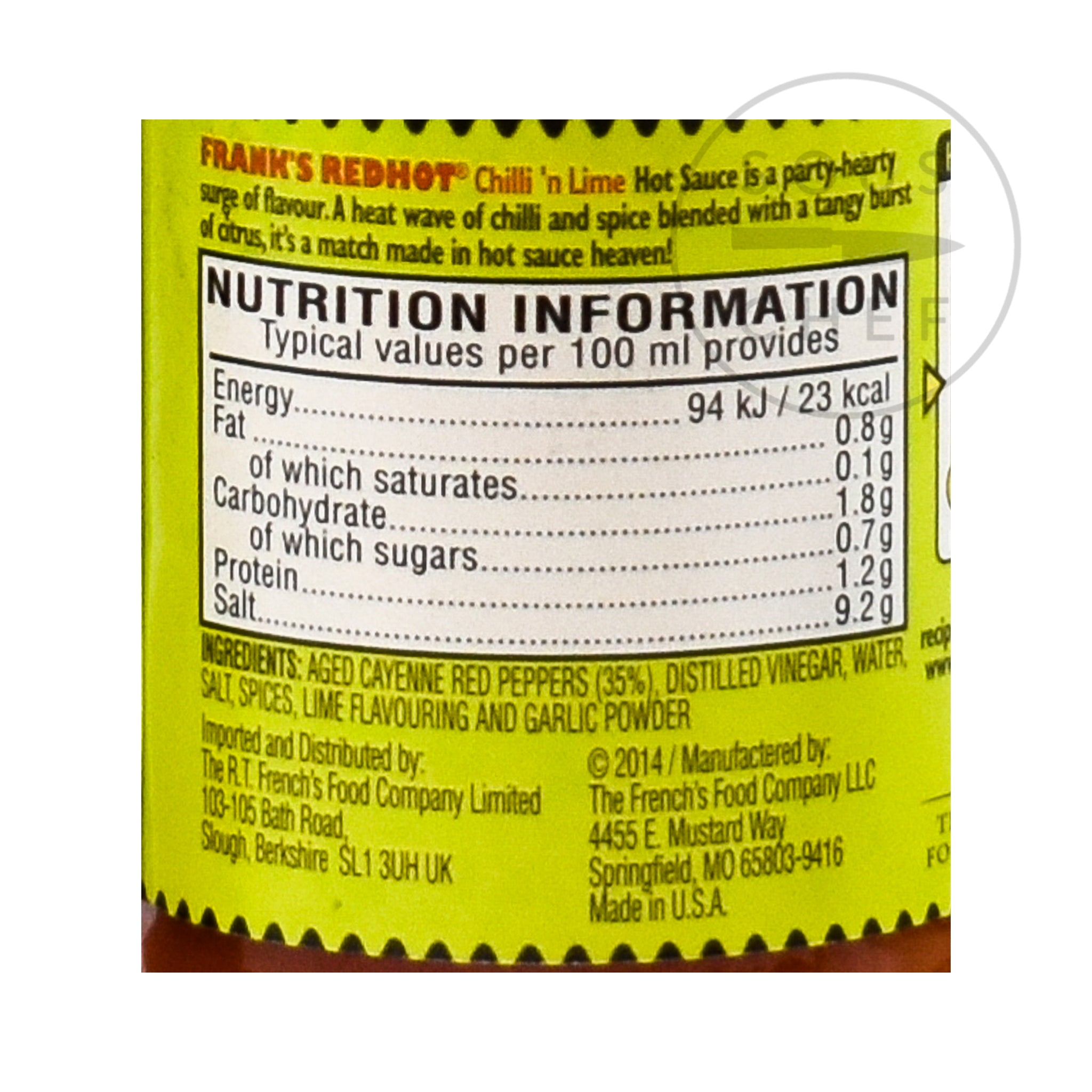 Frank's Red Hot Chilli & Lime Sauce 148ml nutritional information ingredients