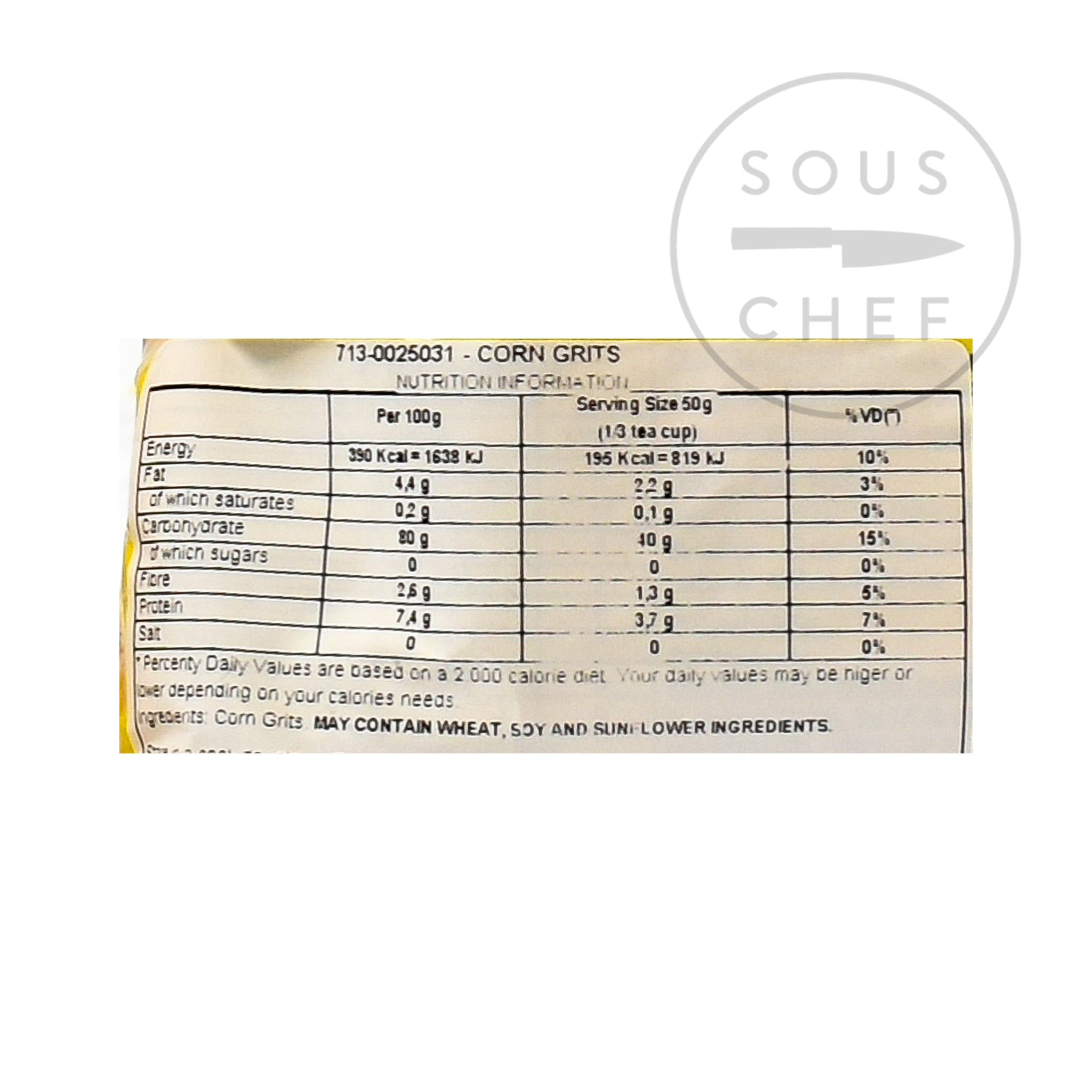 Yoki Corn Grits 500g nutritional information