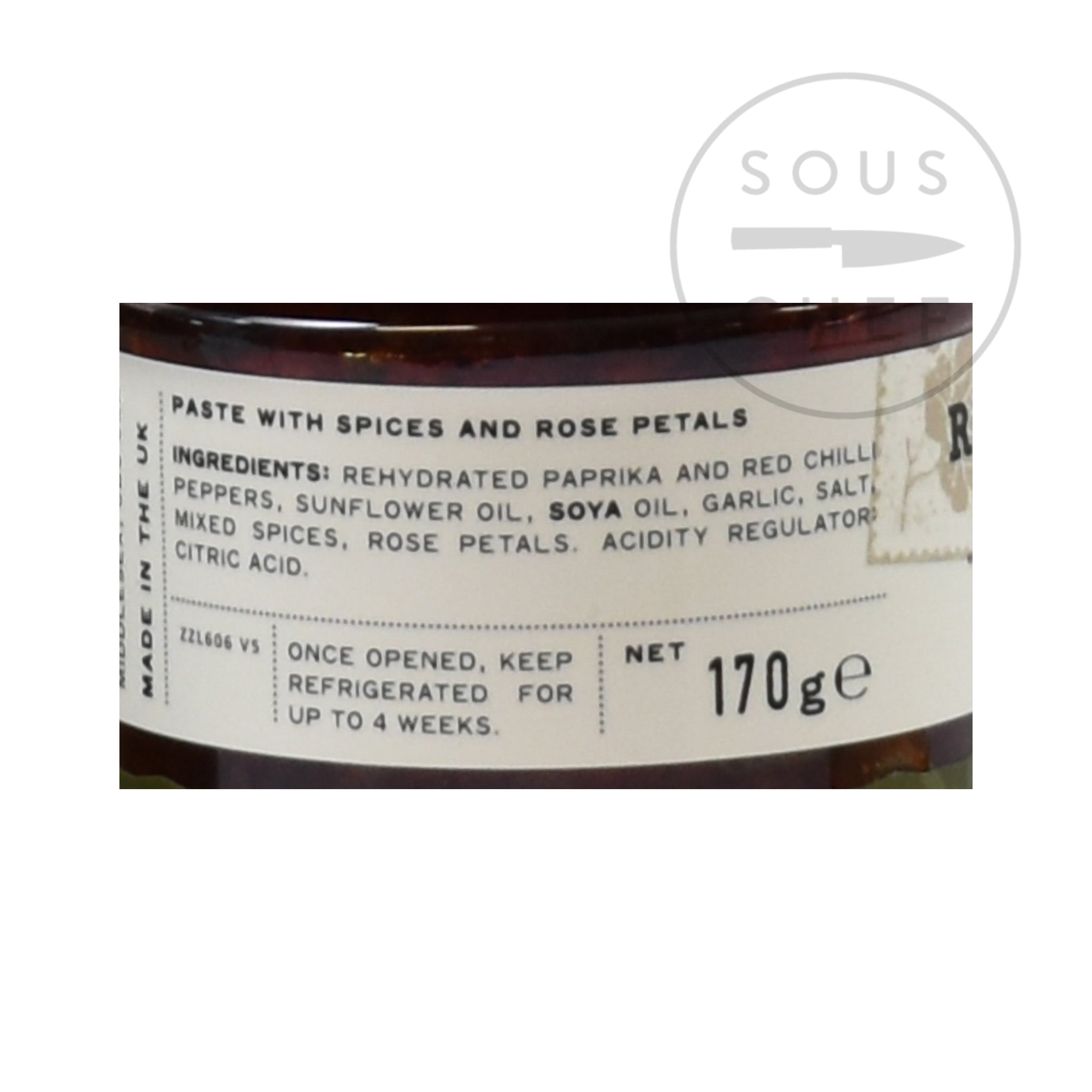 Belazu Rose Harissa 170g ingredients