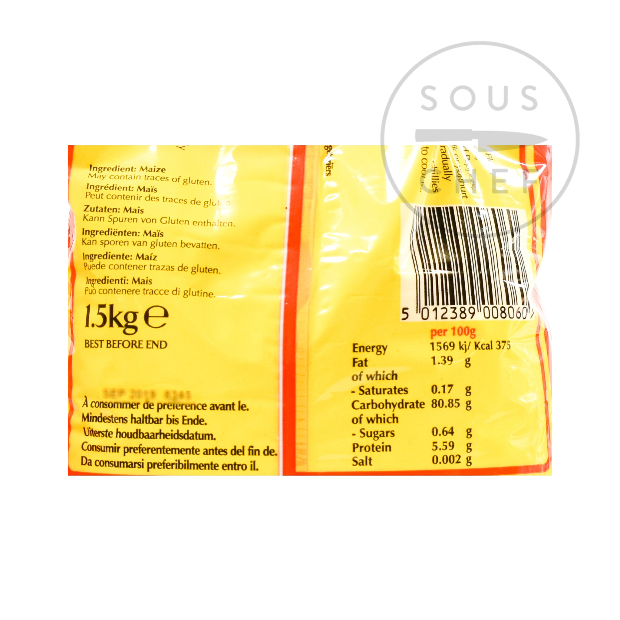 Dunn's River Cornmeal Fine Polenta 1.5kg nutritional information ingredients