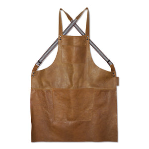 Dutchdeluxes Leather Suspender Apron in Vintage Camel